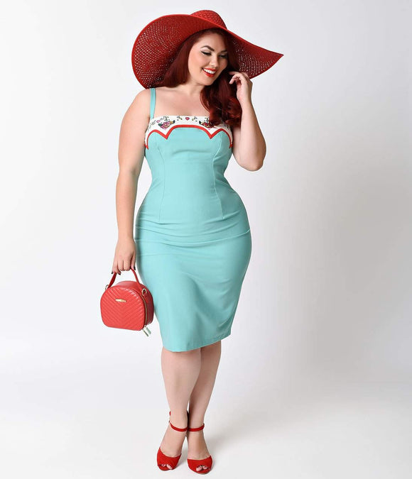 Glamour Bunny Plus Size Rockabilly Mint Marylou Stretch Wiggle Dress