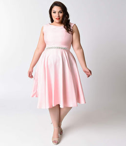 Heart of Haute Plus Size 1950s Baby Pink Shantung Suzette Bridesmaid Dress