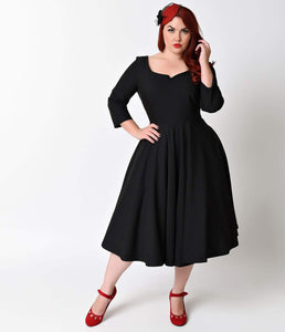 Glamour Bunny Plus Size Vintage Style Black Sleeved Serena Stretch Swing Dress
