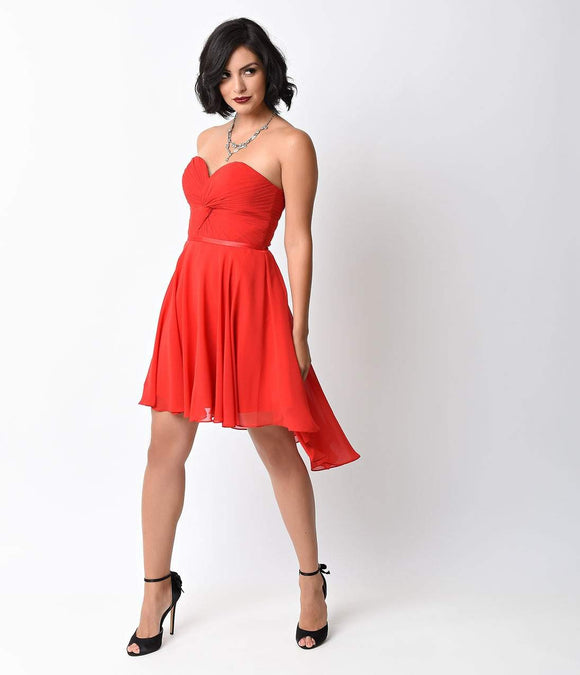 Red Chiffon Strapless Sweetheart Corset Short Dress