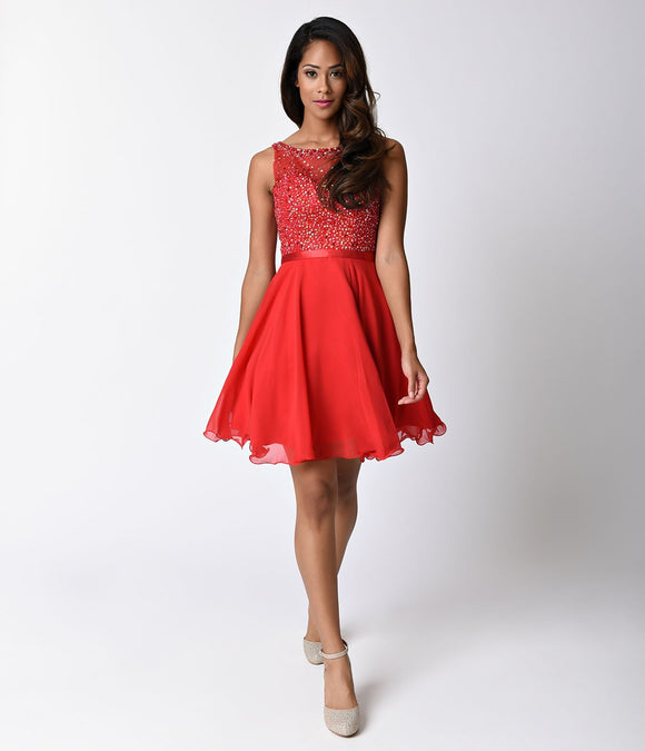 Red Illusion Sweetheart Chiffon Dress