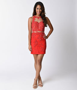 Red Lace Sleeveless Illusion Two Piece Fitted Short Dress