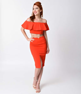 Red Open Shoulder Two Piece Wiggle Dress