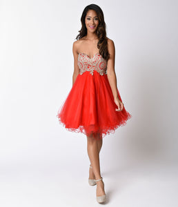 Red Strapless Embellished Short Tulle Dress