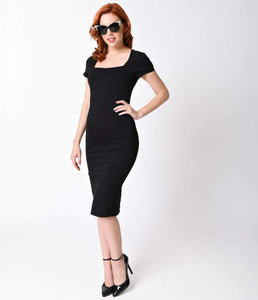 Retro Black Stretch Bodycon Wiggle Dress