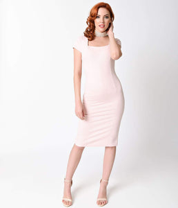 Retro Dusty Rose Stretch Bodycon Wiggle Dress