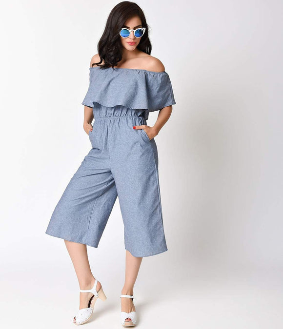 Retro Light Blue Cotton Denim Off the Shoulder Romper