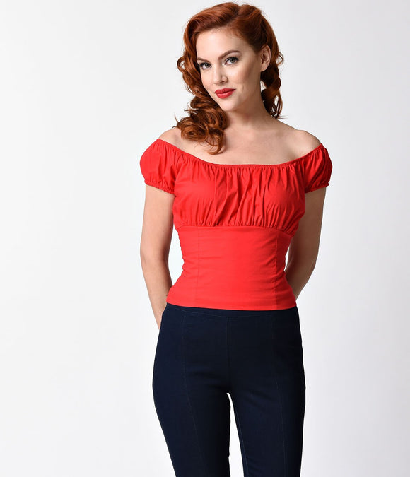 Retro Style Red Off Shoulder Cotton Stretch Peasant Top