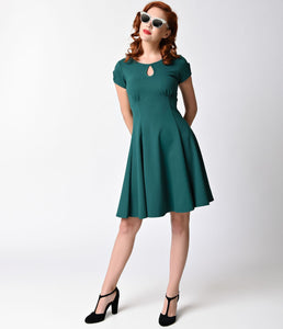 Steady Retro Green Charm Me Keyhole Flare Dress
