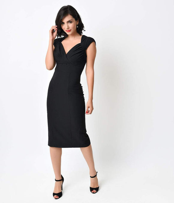 Stop Staring! 1940s Style Black Esmee Fitted Wiggle Dress