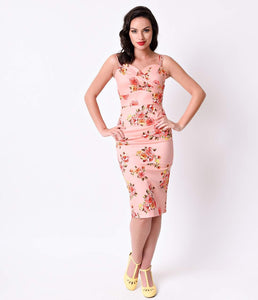 Stop Staring! 1950s Pin-Up Pink Digital Floral Arana Wiggle Dress