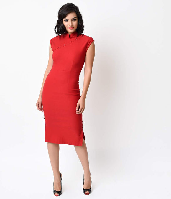 Stop Staring! 1950s Style Red Akahna Cap Sleeve Pencil Dress