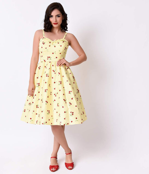 Stop Staring! 1950s Style Yellow Cherry Gingham Juliet Swing Dress
