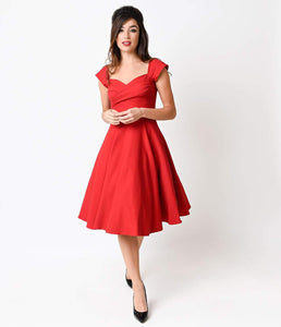 Stop Staring! Mad Style Red Cap Sleeve Swing Dress