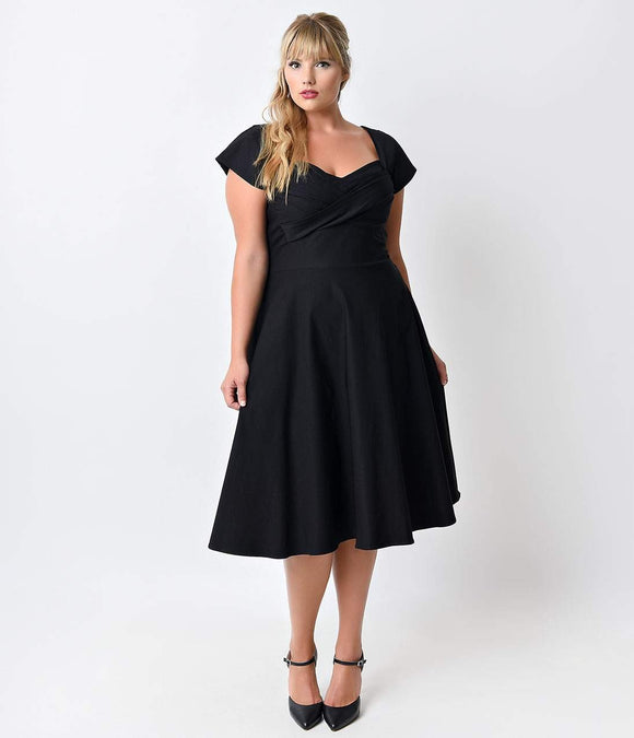 Stop Staring! Plus Size Mad Style Black Cap Sleeve Swing Dress