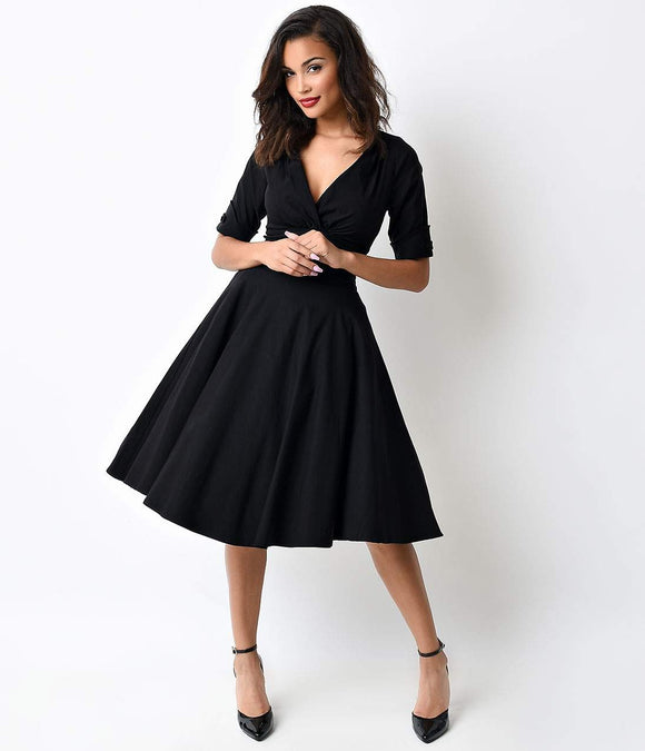 Unique Vintage 1950s Style Black Delores Sleeved Swing Dress