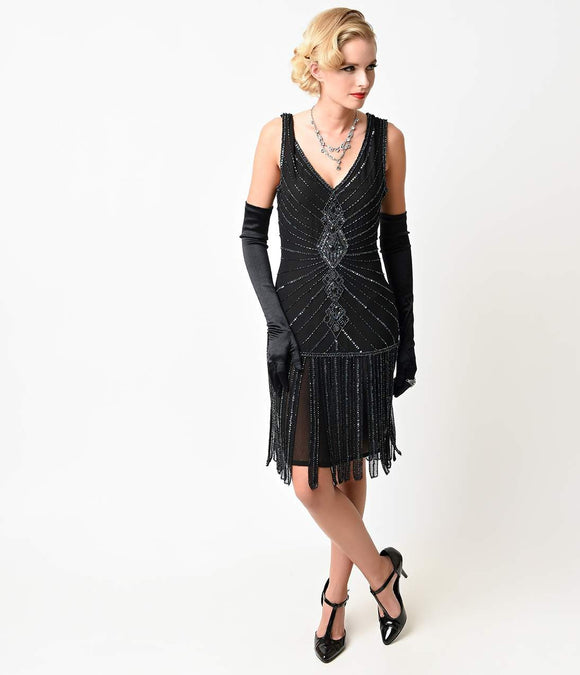 Unique Vintage Deco Black Beaded Fringe Aelita Flapper Dress