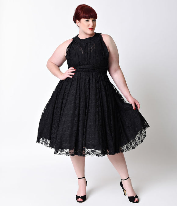 Unique Vintage Plus Size 1940s Black Lace Sleeveless Roosevelt Swing Dress