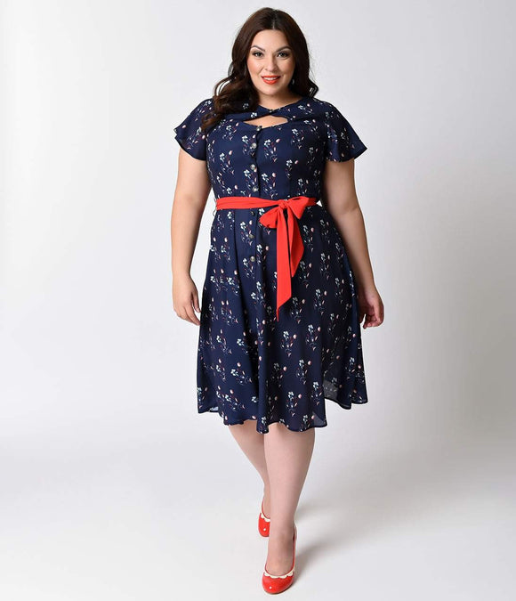 Unique Vintage Plus Size 1940s Navy Floral Ashcroft Short Sleeve Swing Dress