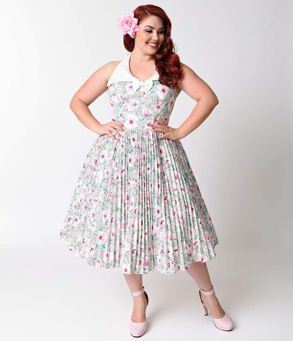 Unique Vintage Plus Size 1950s Pastel Floral Capistrano Halter Swing Dress