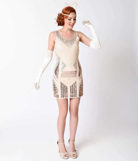 Vintage 1920s Rose Gold Deco Sleeveless Beaded Dress