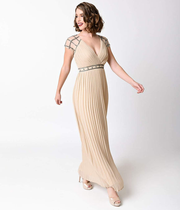 Frock and Frill 1930s Style Nude Beaded Cap Sleeve Grecian Maxi Gown