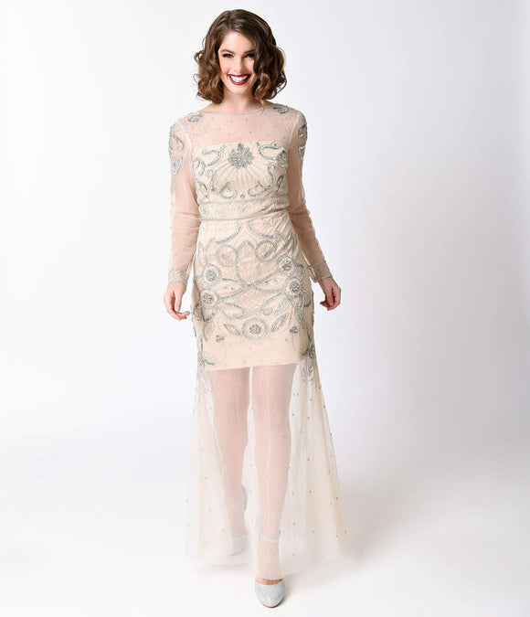 Frock and Frill Vintage 1930s Nude Beaded Sleeved Mesh Deco Gown