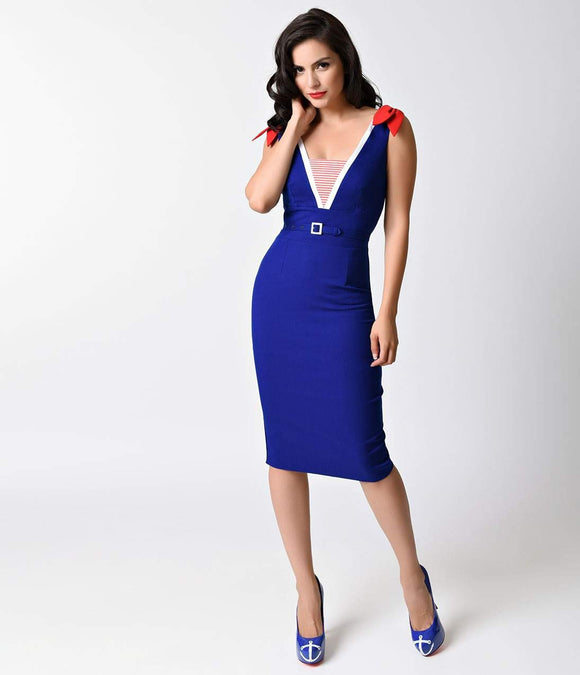 Glamour Bunny Vintage Blue Sailor Gerry Stretch Wiggle Dress