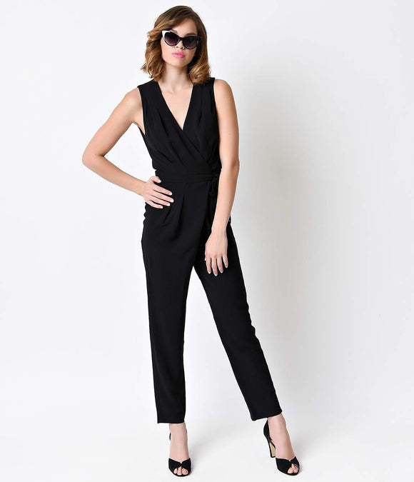 Vintage Style Black Sleeveless Open Back Jumpsuit