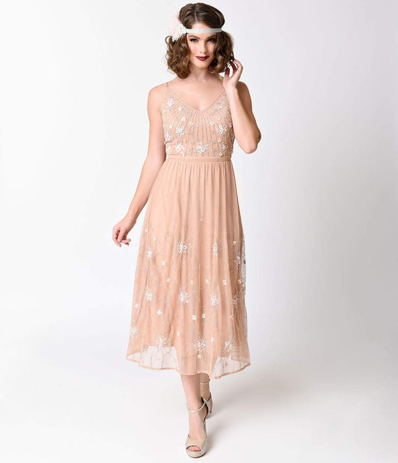 Frock and Frill Vintage Deep Peach Beaded Tiarna Midi Skater Gown