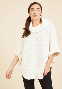 White Knit Top with Full Sleeves