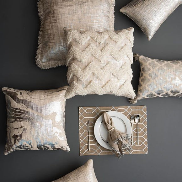 Guilded Chevron Pillow Silver
