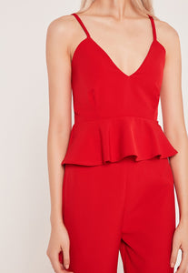 petite strappy peplum top red