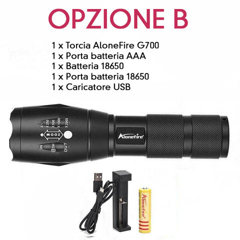 AloneFire G700 - La Torcia LED Ultra Potente Con Super Zoom