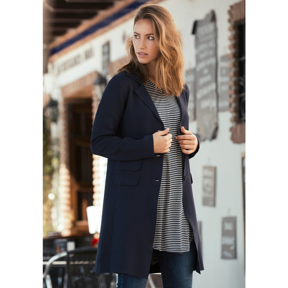 Isay Jena Knitted Jacket Knitwear 640 Navy