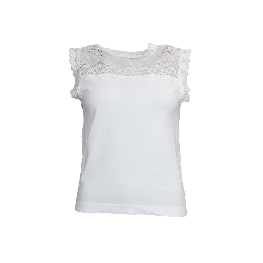 I SAY Nilla Highneck Top Tops 101 Broken White