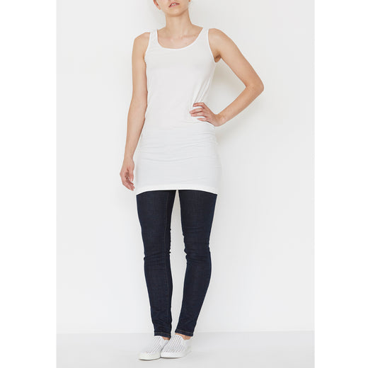 Isay Nilla Long Tank Top Tops 101 Broken White