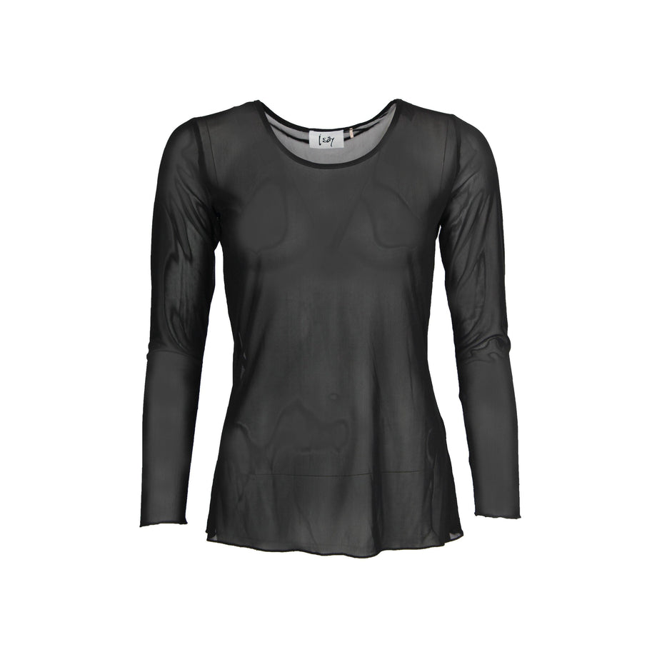 Isay Fifi Mesh l/s O-Neck Tops 900 Black