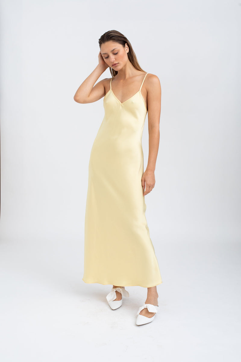Mona Maxi Slip Dress - Yellow