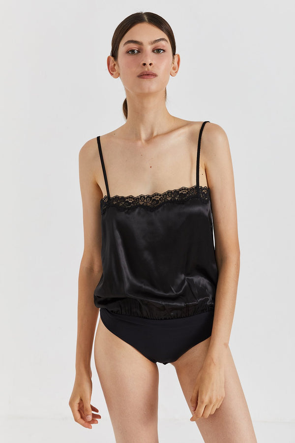 Monique Silk Bodysuit - Black