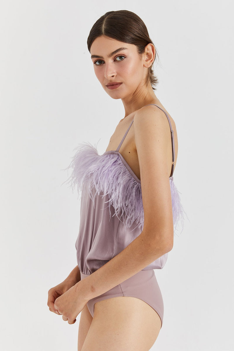 Milo silk & feathers bodysuit - Lavender color