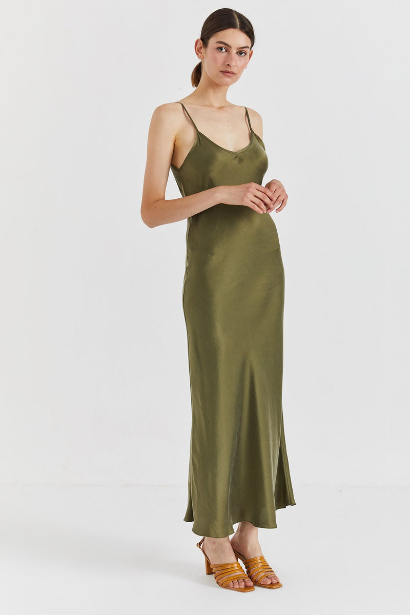 Mona Maxi Slip Dress - Olive