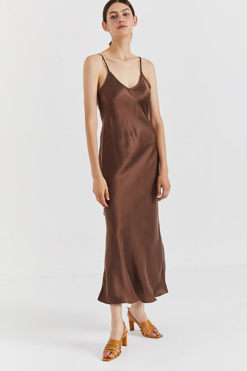 Mona Maxi Slip Dress - Chocolate