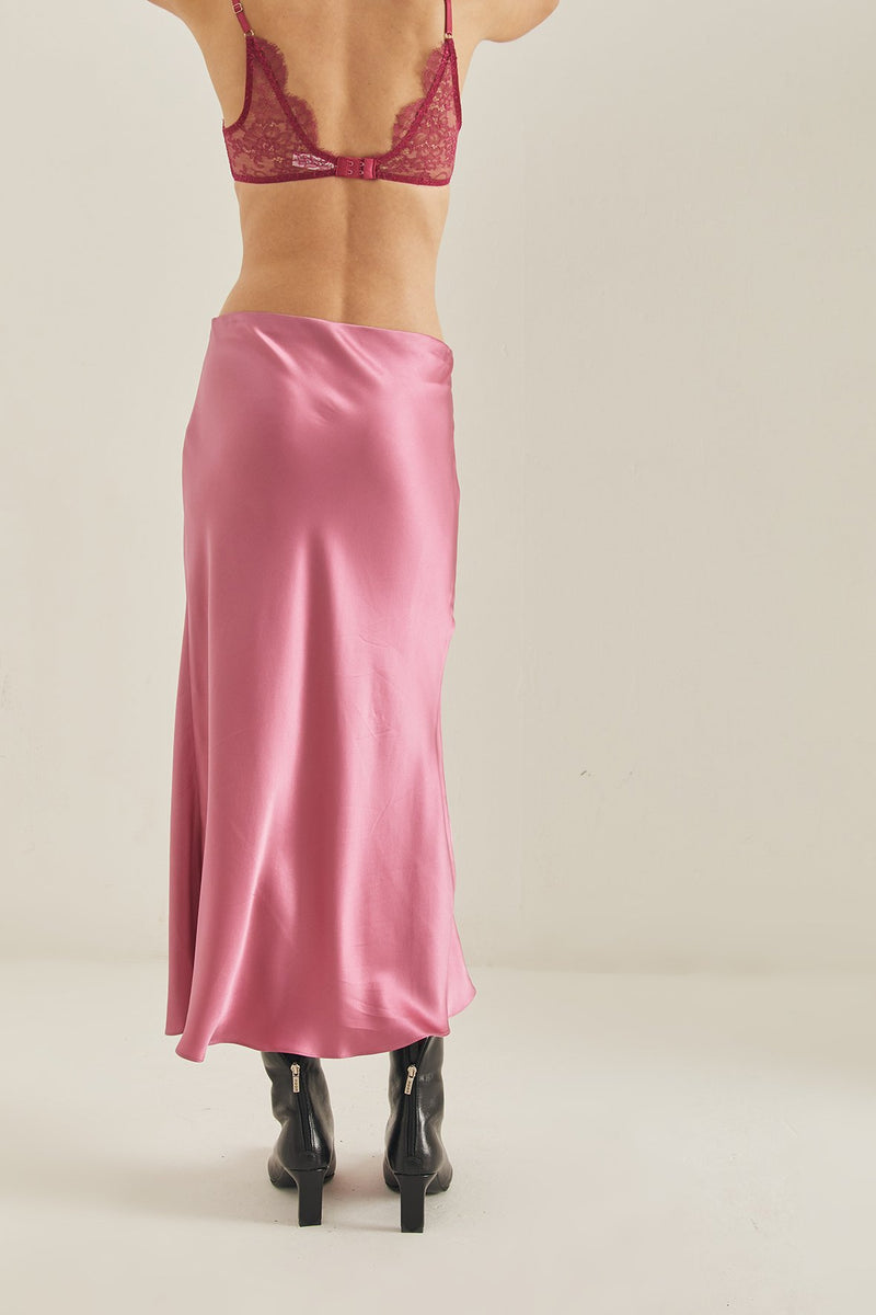Penny Silk Skirt - Rose Pink