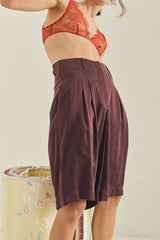 Caro Tailored Silk Shorts / Eggplant