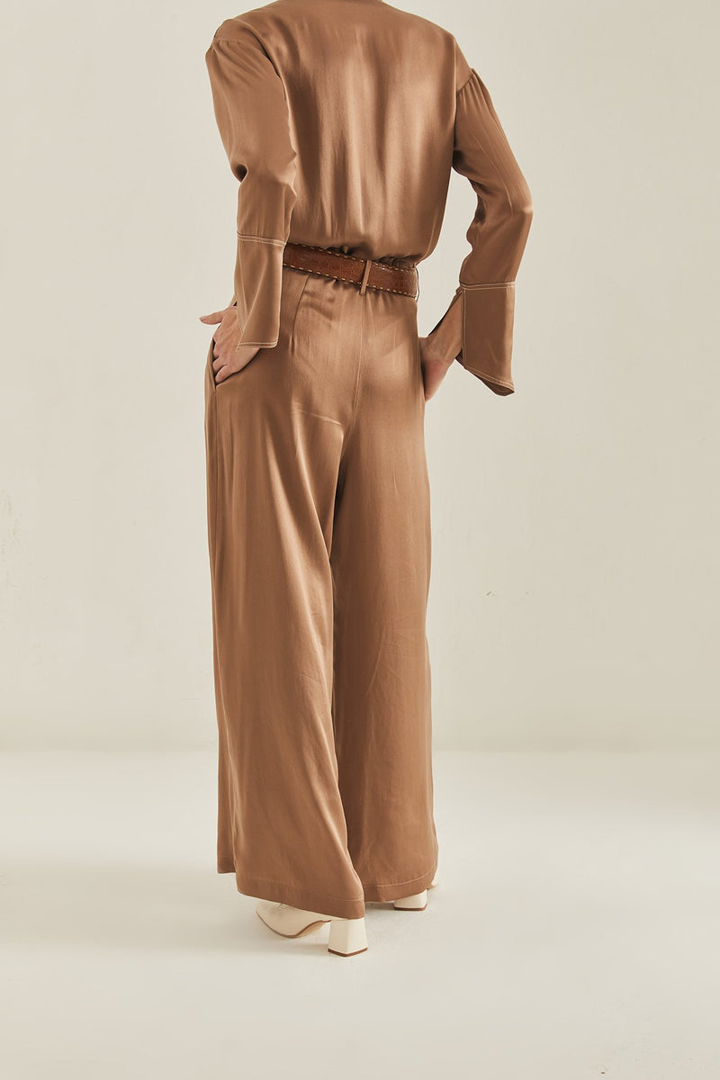 Tea Silk Wide Leg Pants - Coffee