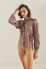 AUDREY SILK BODYSUIT / DUSTY LILAC