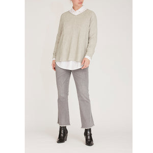 Frigga V-Neck Pullover - light Grey melange