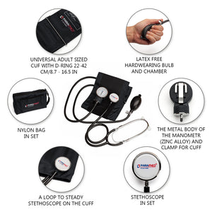 Manual blood pressure cuff kit with stethoscope  – Black