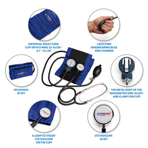 Manual blood pressure cuff kit with stethoscope  – Blue